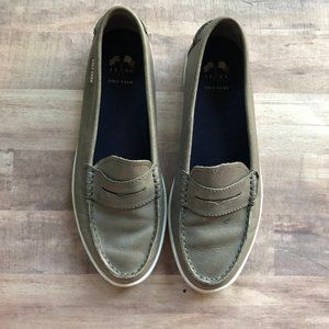 Cole Hann Gray Leather Pinch Weekender Loafer